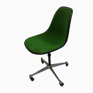 Sedia PSC vintage in fibra di vetro verde di Charles & Ray Eames per Herman Miller, anni '60