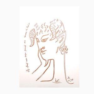 Lithographie Originale Reflections par Jean Cocteau, 1958