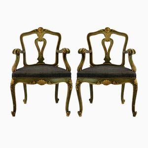 Antike italienische Armlehnstühle, 2er Set