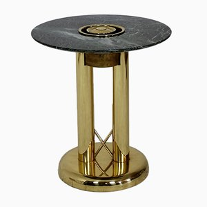 Italian Green Marble & Brass Ashtray Side Table, 1980s