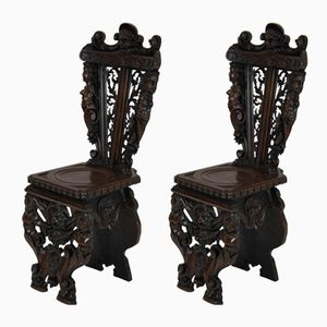 Italian Renaissance Walnut Hall Chairs, 1830s, Set of 2