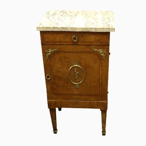 Louis XVI Walnut Nightstand with White Marble Top, 1910s
