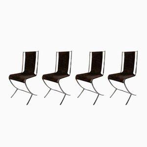 Chaises Drapées en Acier Inoxydable de Maison Jansen, 1970s, Set de 4