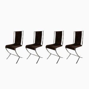 Stainless Steel Draped Chairs from Maison Jansen, 1970s, Set of 4