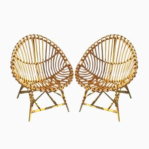 Italian Rattan Chairs from Vittorio Bonacina, 1950s, Set of 2