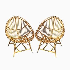 Italian Rattan Chairs from Vittorio Bonacina, 1950s, Set of 2