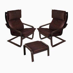 Poäng Stühle & Fußhocker aus Leder von Noboru Nakamura für Ikea, 1970er