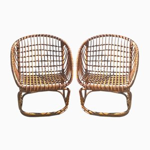 Chaises en Rotin de Vittorio Bonacina, Italie, 1950s, Set de 2