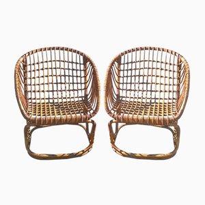 Italienische Stühle aus Rattan von Vittorio Bonacina, 1950er, 2er Set