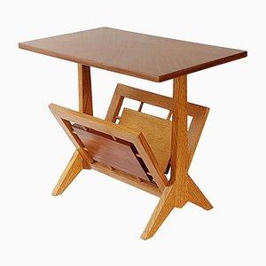 Table d'Appoint avec Porte-Revues Vintage en Chêne & en Acajou, 1950s