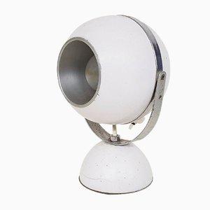 Weiße Tischlampe in Kugelform, 1960er