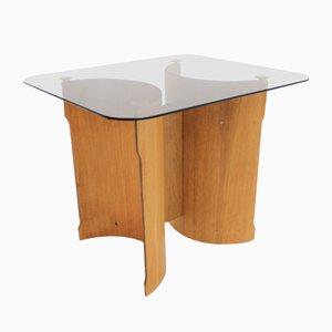 Mesa auxiliar escandinava de chapa de madera curvada y vidrio, años 70