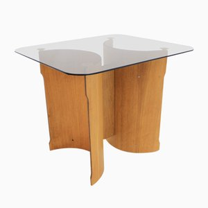 Scandinavian Bentwood Veneer & Glass Side Table, 1970s