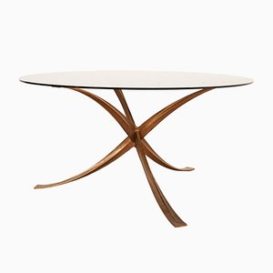 Vintage Cast Iron & Smoked Glass Table by Michel Mangematin, 1970s