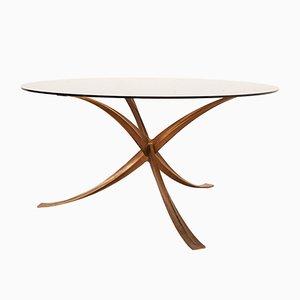 Vintage Tisch aus Gusseisen & Rauchglas von Michel Mangematin, 1970er