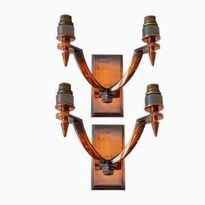 Mid-Century Bronze Wall Lights, Set of 2