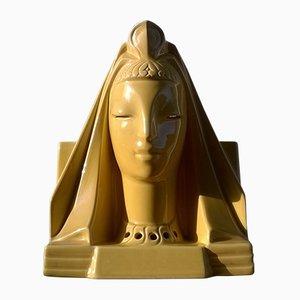 Gelbe Art Deco Sphinx Lampe aus Keramik, 1930er