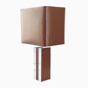 Lampada da tavolo in similpelle marrone e acciaio cromato, anni '70