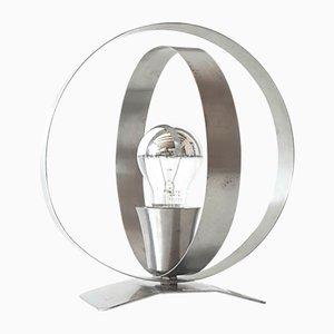 Lámpara de mesa era espacial de acero cepillado, años 70
