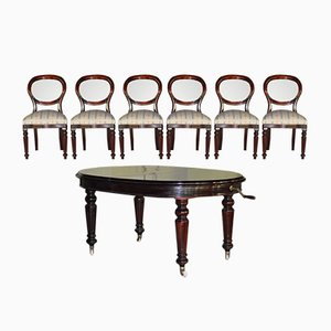 Tavolo da pranzo ovale vintage con sei sedie di Pizzetti, 1971