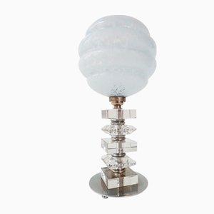 Lámpara de mesa Art Déco de vidrio y cromo, años 20