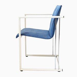 Lackierte Vintage Armlehnstühle aus Metall & blauem Stoff, 1980er, 2er Set