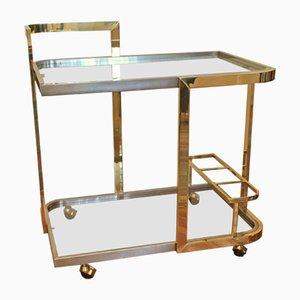 Large Italian Brass and Chrome Bar Cart, 1980s