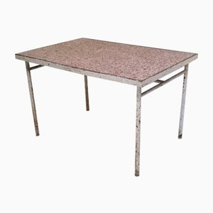 Tubular Metal, Wood & Speckled Linoleum Table, 1930s