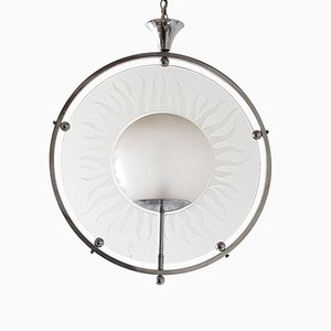 Art Deco Chrome & Glass Ceiling Lamp, 1920s