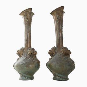 Grands Vases Art Nouveau par Helene Sibeud, 1900s, Set de 2