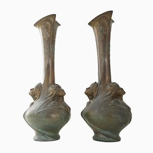Large Art Nouveau Vases by Helene Sibeud, 1900s, Set of 2