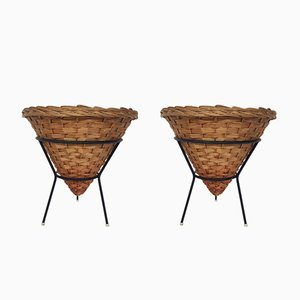 Rattan and Metal Baskets, 1950s, Set of 2