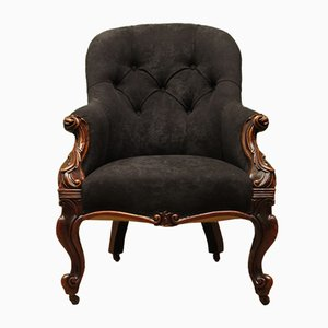 Victorian Button Back Armchair Chair with Rosewood Frame