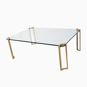 Table Basse Rectangulaire en Laiton & en Verre, 1970s