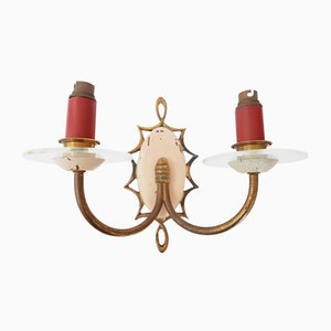 Vintage Brass & Glass Double Wall Sconce