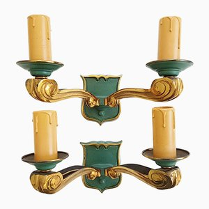 Golden & Green Bronze Wall Lights, 1950s, Set of 2