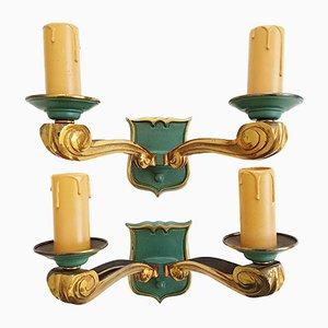 Lámparas de pared de bronce dorado y verde, años 50. Juego de 2