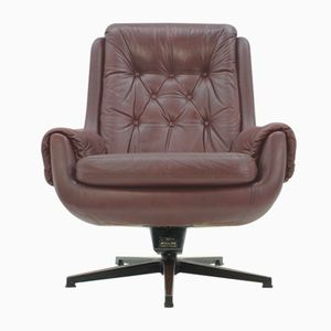 Scandinavian Leather Swivel Armchair from PeeM, 1970s