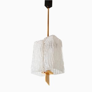 Glass & Golden Brass Ceiling Lamp, 1950s
