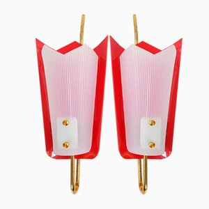 Brass, Plexiglas, & Red Plastic Wall Lights, 1950s, Set of 2