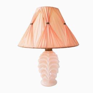Rosafarbene Tischlampe aus Glas & Nylon, 1950er