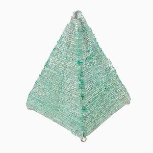 Lámpara de mesa vintage de vidrio con forma de pirámide