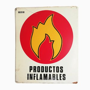 Cartel publicitario de productos inflamables, años 70