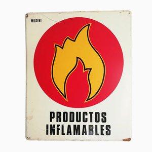 Hinweisschild für entflammbare Produkte, 1970er