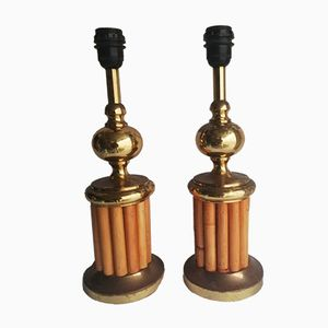 Golden Metal & Bamboo Table Lamps, 1970s, Set of 2