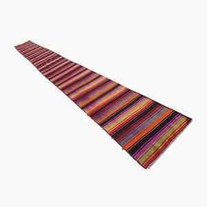 Vintage Handmade Striped Turkish Kilim Runner