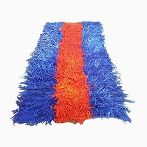 Vintage Turkish Tulu Rug with Orange and Blue Mohair