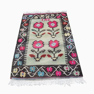 Mid-Century Floral Tapestry Kilim