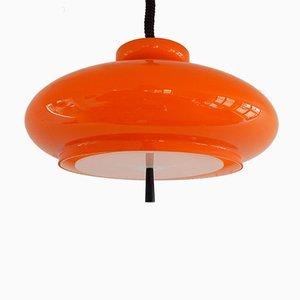 Lampada a sospensione Bowl in vetro soffiato arancione di Raak, anni '70