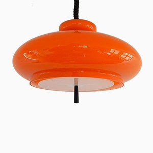 Orange Model Bowl Blown Glass Pendant Lamp from Raak, 1970s